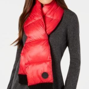 DKNY Quilted Puffer Scarf. Red. NWT!
